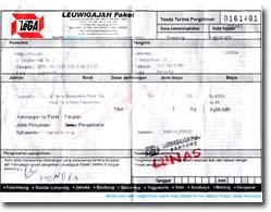 Contoh bukti Pengiriman melalui Paket TIKI